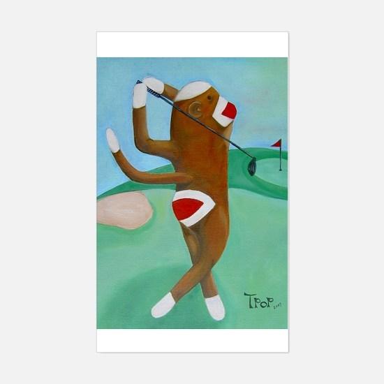 Golf Sock Monkey Rectangle Decal