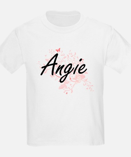 Angie Artistic Name Design with Butterflie T-Shirt
