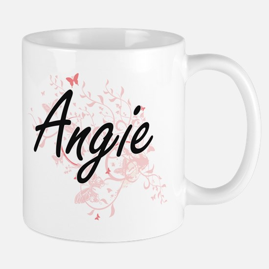 Angie Artistic Name Design with Butterflies Mugs