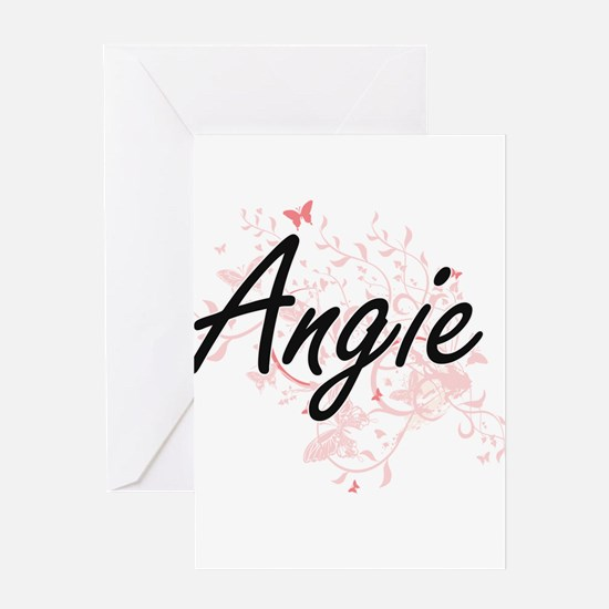 Angie Artistic Name Design with But Greeting Cards