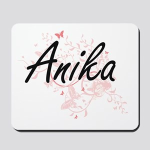 Anika Artistic Name Design with Butterfl Mousepad