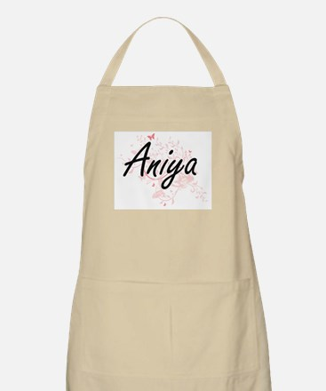 Aniya Artistic Name Design with Butterflies Apron