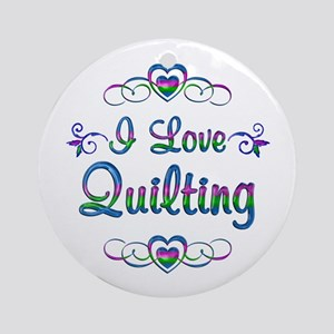 I Love Quilting Round Ornament