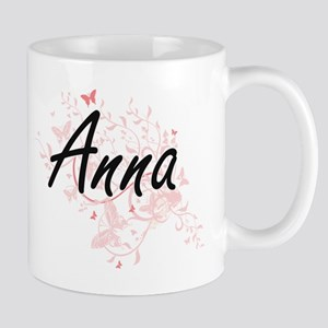 Anna Artistic Name Design with Butterflies Mugs