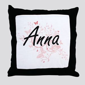 Anna Artistic Name Design with Butter Throw Pillow