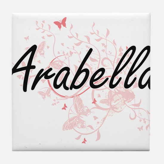 Arabella Artistic Name Design with Bu Tile Coaster