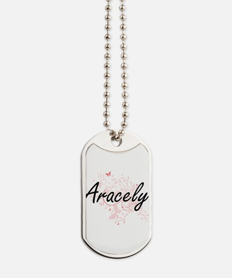 Aracely Artistic Name Design with Butterf Dog Tags