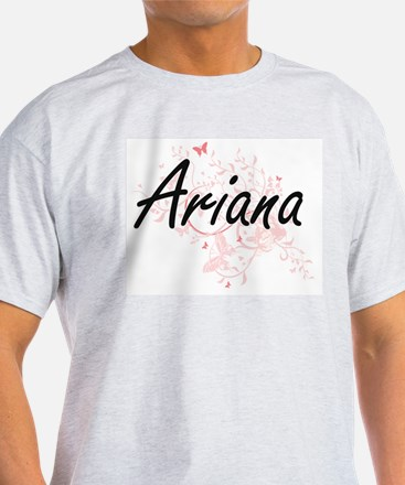 Ariana Artistic Name Design with Butterfli T-Shirt