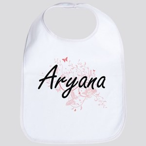 Aryana Artistic Name Design with Butterflies Bib