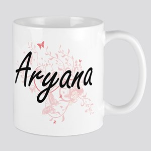 Aryana Artistic Name Design with Butterflies Mugs