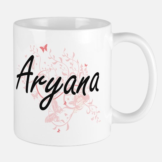 Aryana Artistic Name Design with Butterflies Mugs