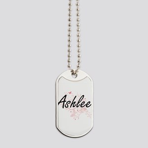 Ashlee Artistic Name Design with Butterfl Dog Tags
