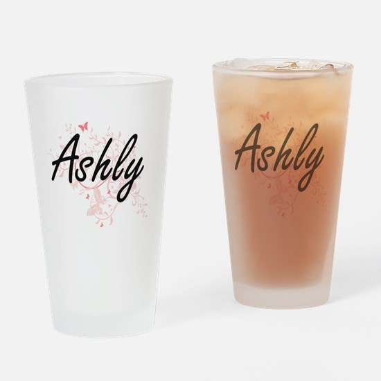 Ashly Artistic Name Design with But Drinking Glass