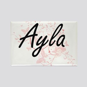 Ayla Artistic Name Design with Butterflies Magnets
