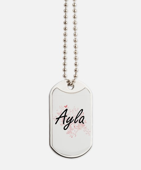 Ayla Artistic Name Design with Butterflie Dog Tags