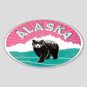 Travel Alaska Retro Oval Sticker