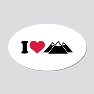 I love mountains 20x12 Oval Wall Decal