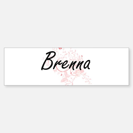 Brenna Artistic Name Design with Bu Bumper Bumper Bumper Sticker
