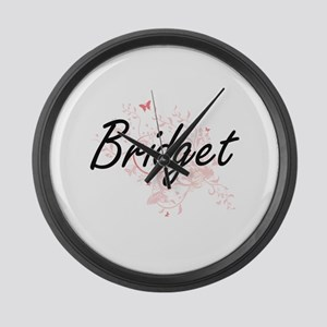 Bridget Artistic Name Design with Large Wall Clock