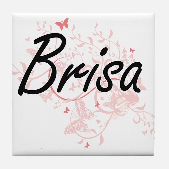 Brisa Artistic Name Design with Butte Tile Coaster