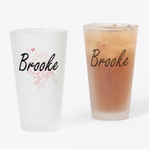 Brooke Artistic Name Design with Bu Drinking Glass