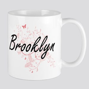 Brooklyn Artistic Name Design with Butterflie Mugs