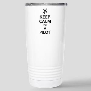 Keep calm I'm a Pilot Stainless Steel Travel Mug