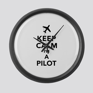 Keep calm I'm a Pilot Large Wall Clock