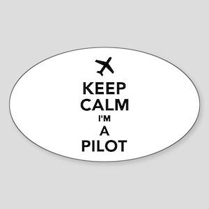 Keep calm I'm a Pilot Sticker (Oval)