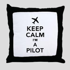 Keep calm I'm a Pilot Throw Pillow