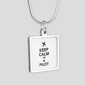 Keep calm I'm a Pilot Silver Square Necklace