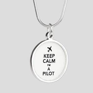 Keep calm I'm a Pilot Silver Round Necklace