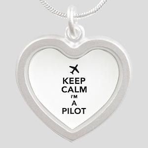 Keep calm I'm a Pilot Silver Heart Necklace
