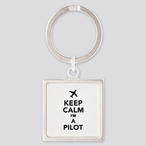 Keep calm I'm a Pilot Square Keychain