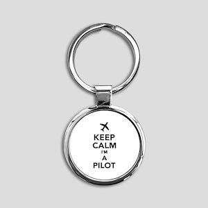 Keep calm I'm a Pilot Round Keychain