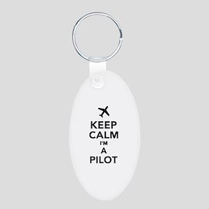 Keep calm I'm a Pilot Aluminum Oval Keychain