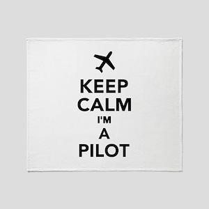 Keep calm I'm a Pilot Throw Blanket