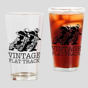 Flat Track One Bike Logo Drinking Glass