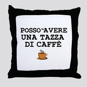 CUP OF COFFEE PLEASE - ITALIAN Throw Pillow