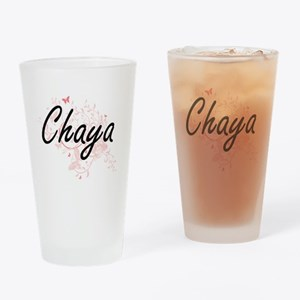 Chaya Artistic Name Design with But Drinking Glass