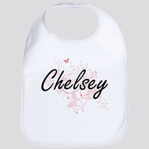 Chelsey Artistic Name Design with Butterflies Bib