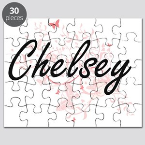 Chelsey Artistic Name Design with Butterfli Puzzle