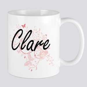 Clare Artistic Name Design with Butterflies Mugs