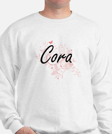 Cora Artistic Name Design with Butterfl Sweatshirt