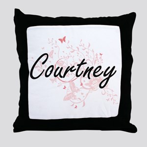 Courtney Artistic Name Design with Bu Throw Pillow