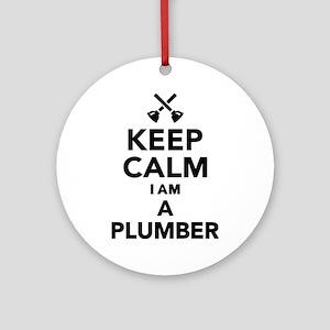 Keep calm I'm a Plumber Round Ornament