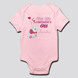 1st Valentine's Day Elephant Infant Bodysuit