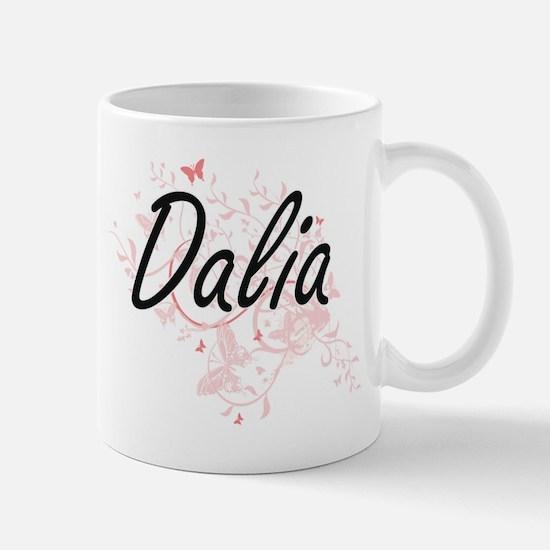 Dalia Artistic Name Design with Butterflies Mugs