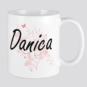 Danica Artistic Name Design with Butterflies Mugs