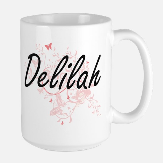 Delilah Artistic Name Design with Butterflies Mugs